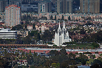 aerial photograph of the San Diego California Temple, La Jolla, San Diego, County, California