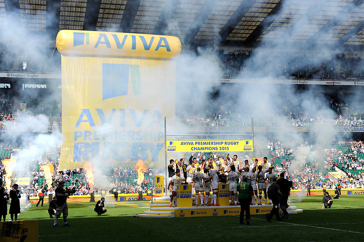 Alistair Hargreaves of Saracens lifts the trophy after winning the Aviva Premiership Rugby Final between Bath Rugby and Saracens at Twickenham Stadium on Saturday 30th May 2015 (Photo by Rob Munro)