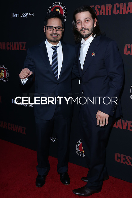 """HOLLYWOOD, LOS ANGELES, CA, USA - MARCH 20: Michael Pena, Diego Luna at the Los Angeles Premiere Of Pantelion Films And Participant Media's """"Cesar Chavez"""" held at TCL Chinese Theatre on March 20, 2014 in Hollywood, Los Angeles, California, United States. (Photo by David Acosta/Celebrity Monitor)"""