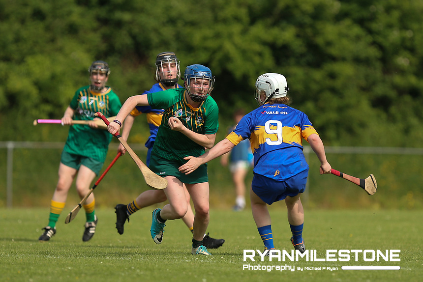 Meath's Emma McGill in action against Tipperary's Roisin Cahill during the Liberty Insurance All Ireland Senior Camogie Championship Round 1 between Tipperary and Meath at the Ragg, Co Tipperary. Photo By Michael P Ryan.