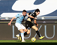 Football, Serie A: S.S. Lazio - Sampdoria, Olympic stadium, Rome, February 20, 2020. <br /> Sampdoria's Tommaso Augello (r) in action with Lazio's Adam Marusic (l) during the Italian Serie A football match between S.S. Lazio and Sampdoria at Rome's Olympic stadium, Rome, on February 20, 2021.  <br /> UPDATE IMAGES PRESS/Isabella Bonotto