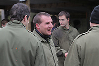 Pictured: Brendan Rodgers (C). Tuesday 25 January 2011<br /> Re: Swansea City FC footballers and staff have spend a morning at Teamforce Paintball in Llangyfelach near Swansea south Wales.