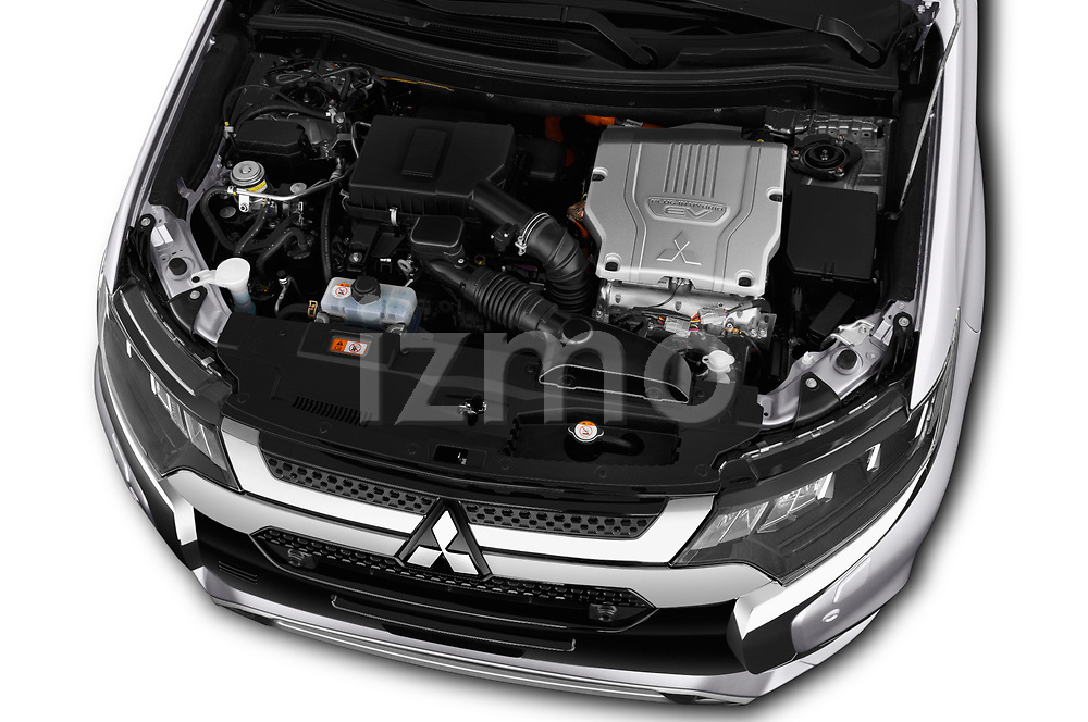 Car stock 2018 Mitsubishi Outlander PHEV Instyle 5 Door SUV engine high angle detail view