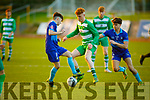 A tussle for possession between Terry Sparling of Killarney Celtic and David Smith and Seamus Lynch of Dingle Bay Rovers in the Jimmy Falvey Memorial Final
