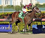 26 Feb 11: R Heat Lightning anf jockey John Velasquez win the Davona Dale Stakes at Gulfstream Park in Hallandale Beach, Florida