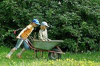 Mädchen schiebt ihren Bruder in der Schubkarre durch den Garten, Spaß im Garten, spielen