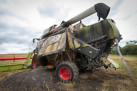 Combine burnt out whilst harvesting oil seed rape