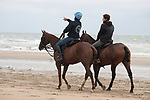August 16, 2021, Deauville (France) - Horses from the Barrière Deauville Polo Cup training at the beach in Deauville. [Copyright (c) Sandra Scherning/Eclipse Sportswire)]