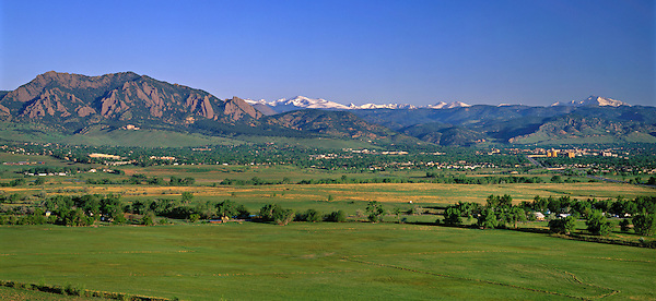 Boulder Valley and the Flatirons rock formation, Boulder, Colorado, USA. .  John leads private photo tours in Boulder and throughout Colorado. Year-round Colorado photo tours.