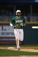 Logan Sherer (25) of the Charlotte 49ers jogs towards home plate against the Georgia Bulldogs at BB&T Ballpark on March 8, 2016 in Charlotte, North Carolina. The 49ers defeated the Bulldogs 15-4. (Brian Westerholt/Four Seam Images)