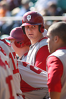Alex Dickerson #12 of the University of Indiana Hoosiers in the dugout during a game against the Virginia Tech Hokies at Watson Stadium at Vrooman Field in Conway, South Carolina on February 18, 2011. Photo by Robert Gurganus/Four Seam Images