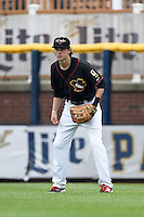 Quad Cities River Bandits right fielder Johnny Sewald (4) during a game against the Burlington Bees on May 9, 2016 at Modern Woodmen Park in Davenport, Iowa.  Quad Cities defeated Burlington 12-4.  (Mike Janes/Four Seam Images)