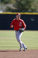 Los Angeles Angels second baseman Kirby Pellant (6) warms up on a side field during an Instructional League game against the Milwaukee Brewers on October 11, 2013 at Tempe Diablo Stadium Complex in Tempe, Arizona.  (Mike Janes/Four Seam Images)
