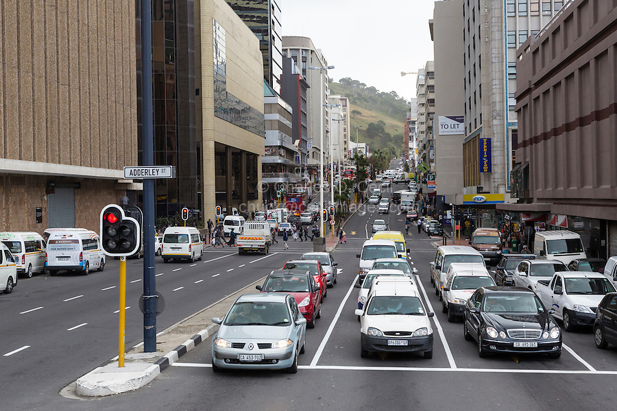 South Africa, Cape Town.  Lookig up Strand Street, Corner of Adderley.
