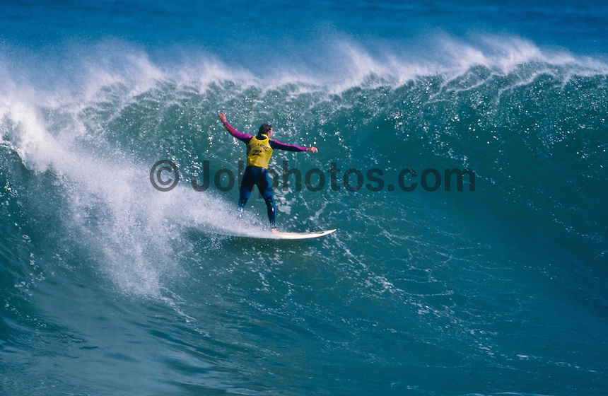 Local resident and surf shop owner Craig Sage (AUS), surfing Mundaka rivermouth during an epic swell in November 1989. Mundaka, Basque Country, Spain. Photo: joliphotos.com