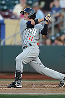The Reno Aces Tyler Bortncik #11 swings during the game against the Omaha Storm Chasers at Werner Park on August 3, 2012 in Omaha, Nebraska.(Dennis Hubbard/Four Seam Images)