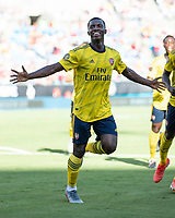 CHARLOTTE, NC - JULY 20: Eddie Nketiah #30 celebrates his goal in a game between Arsenal and Fiorentina during a game between ACF Fiorentina and Arsenal at Bank of America Stadium on July 20, 2019 in Charlotte, North Carolina.