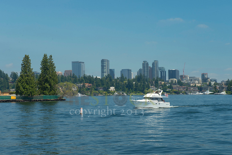 Boat in front of City Skyline