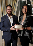 "Winners Andre and Natasha Azizi from Caspian Enterprises' at Preservation Houston's ""The Cornerstone Dinner""  presenting the 2018 Good Brick Awards at the River Oaks Country Club Friday March 02,2018. (Dave Rossman Photo)"