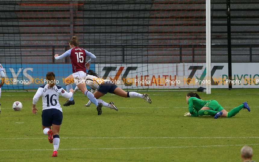 Lisa Weiß of Aston Villa fouls Alex Morgan of Tottenham Hotspur in the box during Tottenham Hotspur Women vs Aston Villa Women, Barclays FA Women's Super League Football at the Hive Stadium on 13th December 2020