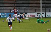 Lisa Weiß of Aston Villa fouls Alex Morgan of Tottenham Hotspur in the box during Tottenham Hotspur Women vs Aston Villa Women, Barclays FA Women's Super League Football at the Hive Stadium on 13th December 2020