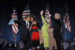 U.S. President Elect Barack Obama, his wife Michelle Obama are joined on stage by Jill Biden, wife of Joseph Biden, and U.S. Vice-President Elect Jospeh Biden after delivering his victory speech on Election Night 2008 in Grant Park in Chicago, Illinois on November 4, 2008.