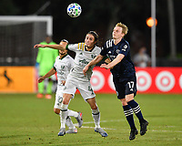 LAKE BUENA VISTA, FL - AUGUST 01: Jorge Villafaña #4 of the Portland Timbers and Gary Mackay-Steven #17 of New York City FC challenge for a header during a game between Portland Timbers and New York City FC at ESPN Wide World of Sports on August 01, 2020 in Lake Buena Vista, Florida.