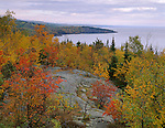 Tettegouche S.P., MN   <br /> View of the fall forests along Lake Superior's north shore from Palisade Head
