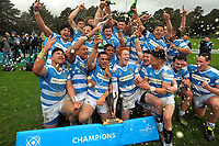 The Silverstream team celebrates winning the Weltec Premiership Wellington secondary schools 1st XV rugby final between St Patrick's College Silverstream and Wellington College at Porirua Park in Wellington, New Zealand on Sunday, 20 August 2017. Photo: Dave Lintott / lintottphoto.co.nz