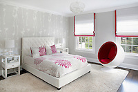 White and red ball chair in the bedroom