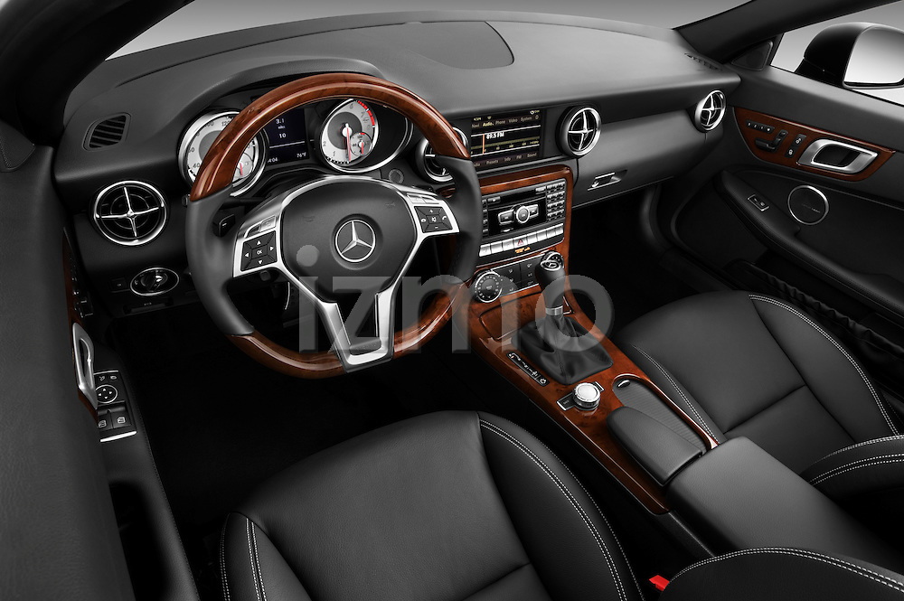 High angle dashboard view of a 2013 Mercedes SLK Class