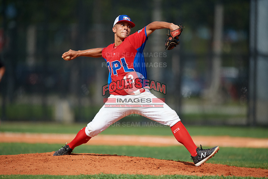 Jeffrey Castillo (12) during the Dominican Prospect League Elite Florida Event at Pompano Beach Baseball Park on October 14, 2019 in Pompano beach, Florida.  (Mike Janes/Four Seam Images)