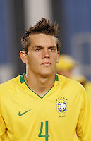 Brazil's Rafael Toloi (4) stands on the pitch before the game against Costa Rica during the FIFA Under 20 World Cup Semi-final match at the Cairo International Stadium in Cairo, Egypt, on October 13, 2009. Brazil won the match  1-0.