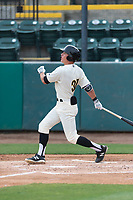 Visalia Rawhide center fielder Jake McCarthy (31) follows through on his swing during a game against the Rancho Cucamonga Quakes at Rawhide Ballpark on April 8, 2019 in Visalia, California. (Zachary Lucy/Four Seam Images)