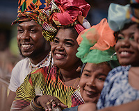 CALI - COLOMBIA. 14-08-2019: Asistentes posan durante el primer día del XXIII Festival de Música del Pacífico Petronio Alvarez 2019 el festival cultural afro más importante de Latinoamérica y se lleva acabo entre el 14 y el 19 de agosto de 2019 en la ciudad de Cali. / Assistants pose during the XXII Pacific Music Festival Petronio Alvarez 2019 that is the most important afro descendant cultural festival of Latin America and takes place between August 14 and 19, 2019, in Cali city. Photo: VizzorImage/ Gabriel Aponte / Staff