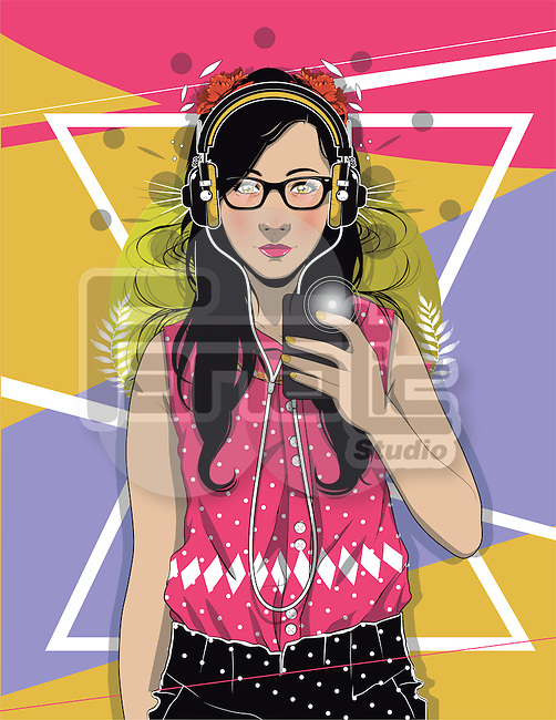 Portrait of confident female hipster taking selfie over colored background