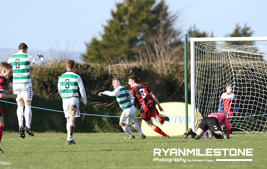 FAI Junior Cup Quarter Final.<br /> Peake Villa v Sheriff YC<br /> Tower Grounds,<br /> Thurles, Co Tipperary<br /> Sunday 12th March 2017<br /> William McCarthy (Peake Villa) scores a goal.<br /> Photo Credit: Michael P Ryan