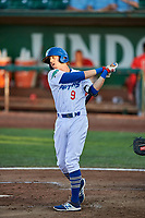 Connor Heady (9) of the Ogden Raptors bats against the Orem Owlz at Lindquist Field on September 2, 2017 in Ogden, Utah. Ogden defeated Orem 16-4. (Stephen Smith/Four Seam Images)