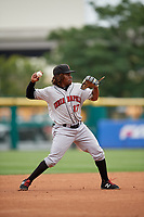 Indianapolis Indians shortstop Gift Ngoepe (17) during a game against the Buffalo Bisons on August 17, 2017 at Coca-Cola Field in Buffalo, New York.  Buffalo defeated Indianapolis 4-1.  (Mike Janes/Four Seam Images)