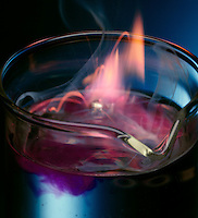 POTASSIUM REACTS EXPLOSIVELY WITH WATER<br /> Elemental Potassium Placed in Beaker of Water<br /> An exothermic displacement reaction between elemental Potassium and water producing aqueous Potassium Hydroxide and Hydrogen gas. Phenolphthalein indicator in the water turns pink as the solution becomes basic with the formation of Potassium Hydroxide.