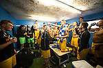 Lowestoft Town 2 Barrow 3, 25/04/2015. Crown Meadow, Conference North. Barrow make the six-hour trip to Suffolk needing a win to secure the title. Barrow celebrations add to the already detectable mildew problem in the away changing rooms. Photo by Simon Gill.