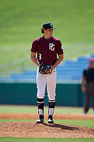 Drew Leinenbach (8) of Dunnellon High School in Dunnellon, FL during the Perfect Game National Showcase at Hoover Metropolitan Stadium on June 19, 2020 in Hoover, Alabama. (Mike Janes/Four Seam Images)