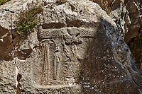 13th century BC Hittite religious rock carvings of Yazılıkaya Hittite rock sanctuary, chamber B,  Hattusa, Bogazale, Turkey.