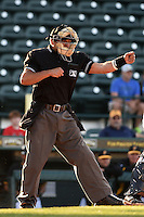 Home plate umpire Charlie Ramos makes a call during a game between the Palm Beach Cardinals and Bradenton Marauders on April 9, 2014 at McKechnie Field in Bradenton, Florida.  Palm Beach defeated Bradenton 3-1.  (Mike Janes/Four Seam Images)