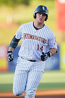 Corey Zangari (14) of the Kannapolis Intimidators rounds the bases after hitting a home run against the Hagerstown Suns at Kannapolis Intimidators Stadium on May 6, 2016 in Kannapolis, North Carolina.  The Intimidators defeated the Suns 5-3.  (Brian Westerholt/Four Seam Images)