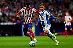 Thomas Lemar of Atletico de Madrid and Oscar Melendo of RCD Espanyol during La Liga match between Atletico de Madrid and RCD Espanyol at Wanda Metropolitano Stadium in Madrid, Spain. November 10, 2019. (ALTERPHOTOS/A. Perez Meca)