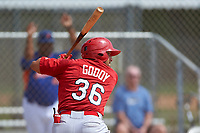 St. Louis Cardinals Jose Godoy (36) bats during a Minor League Spring Training game against the New York Mets on March 31, 2016 at Roger Dean Sports Complex in Jupiter, Florida.  (Mike Janes/Four Seam Images)