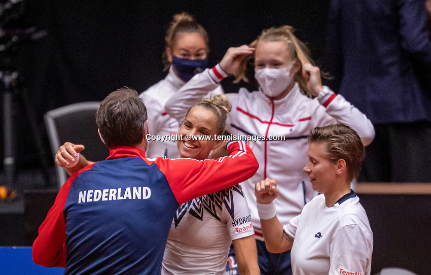 Den Bosch, The Netherlands, April 17, 2021,    Maaspoort, Billie Jean King Cup  Netherlands -  China , seccond day doubles match: Dutch team celebrate the win over China.<br /> Photo: Tennisimages/Henk Koster