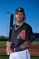 AZL D-backs outfielder Wilderd Patino (16) poses for a photo before an Arizona League game against the AZL Angels on July 20, 2019 at Salt River Fields at Talking Stick in Scottsdale, Arizona. The AZL Angels defeated the AZL D-backs 11-4. (Zachary Lucy/Four Seam Images)