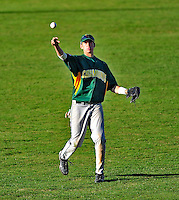 19 April 2009: University of Vermont Catamounts' outfielder Corey Moylan, a Sophomore from Glenview, IL, in action against the University at Albany Great Danes at Historic Centennial Field in Burlington, Vermont. The Great Danes defeated the Catamounts 9-4 in the second game of a double-header. Sadly, the Catamounts are playing their last season of baseball, as the program has been marked for elimination due to budgetary constraints on the University. Mandatory Photo Credit: Ed Wolfstein Photo